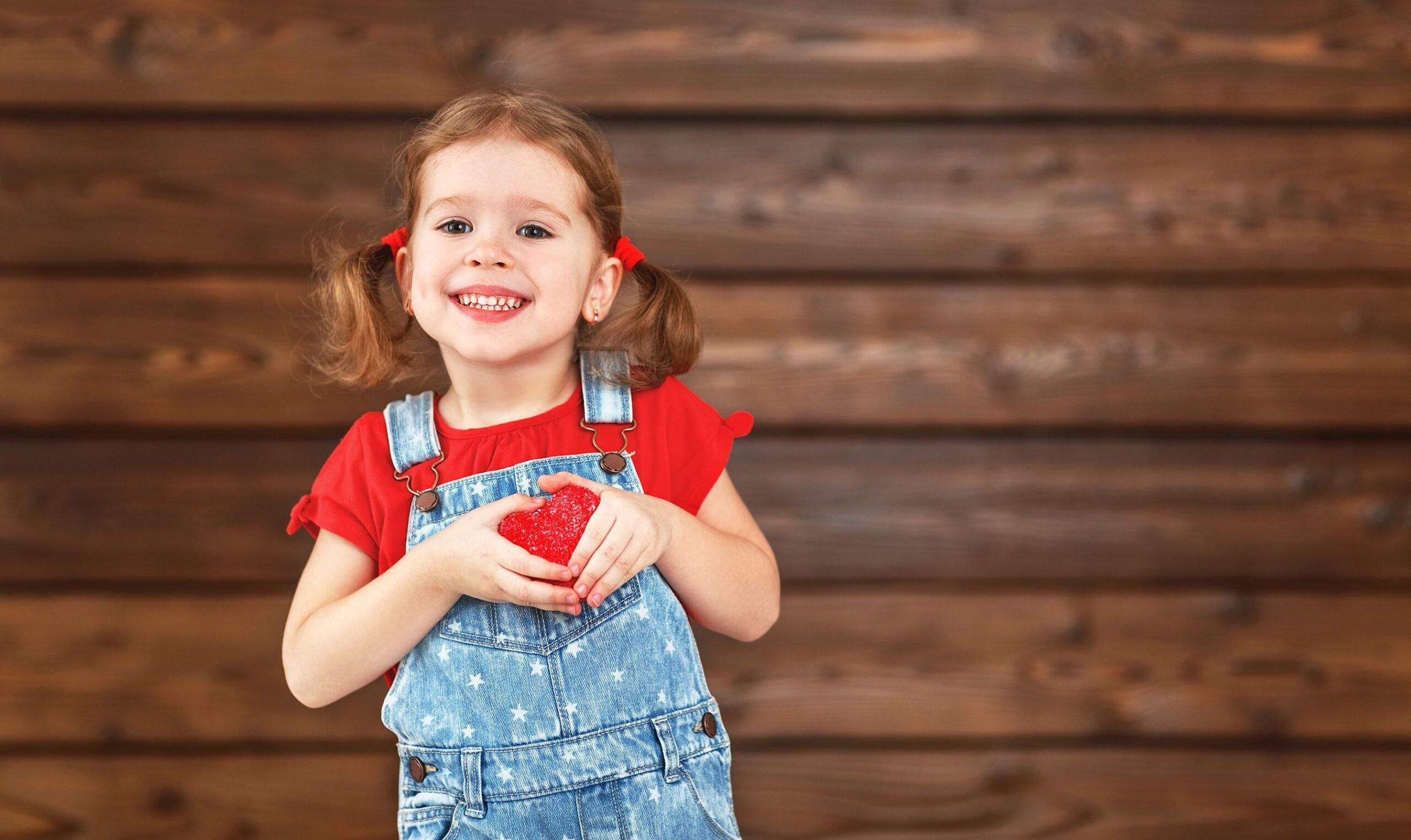 little girl celebrating valentine's day